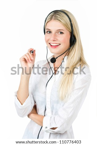 Hotline operator. Can I help you? Portrait of young woman on white baclground - stock photo