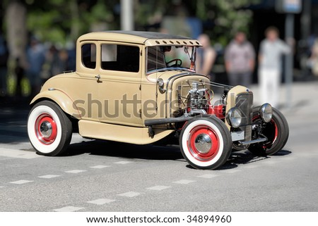 Hotrod retro car - stock photo