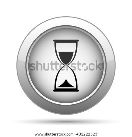 Hourglass icon. Internet button on white background. - stock photo