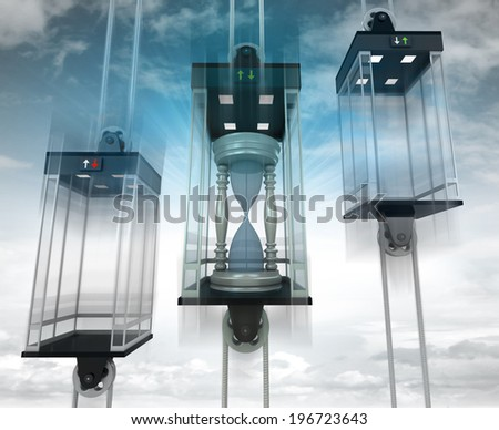 hourglass in the middle elevator as vertical transport concept illustration - stock photo