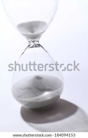 Hourglass in white background and shadow drop - stock photo