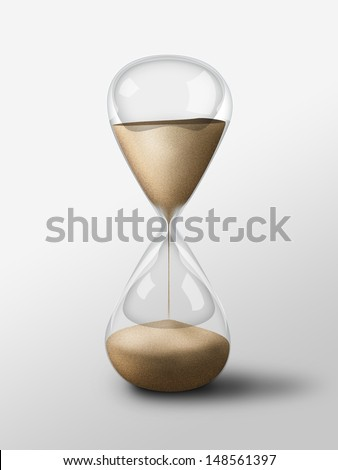 Hourglass isolated object. Simple and elegant sand glass clock - stock photo