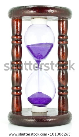 Hourglass on a white background. - stock photo