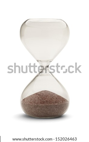 Hourglass out of time Isolated on White Background. - stock photo