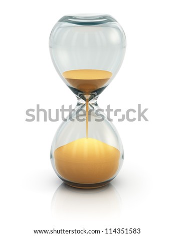 Hourglass, sand clock or timer isolated on white background - stock photo