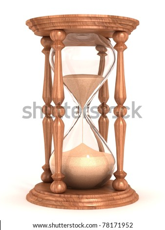 hourglass, sandglass, sand timer, sand clock isolated on the white background 3d illustration - stock photo