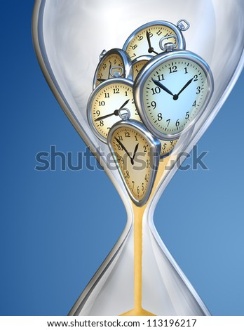 Hourglass time clock with sand flow - stock photo