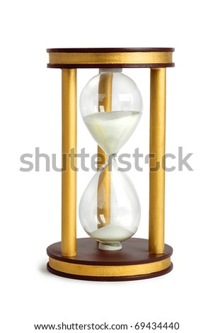 hourglass time concept color image isolated on a white background - stock photo