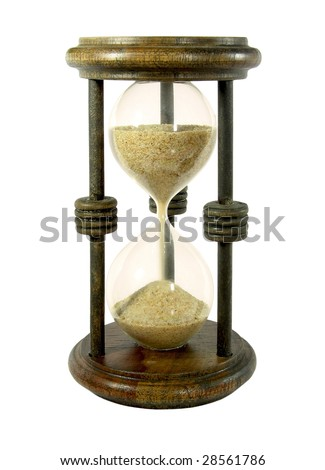 Hourglass with a sand trickle flowing, isolated on white - stock photo