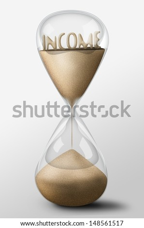 Hourglass with Income word made of sand inside the clock. Concept of expectation - stock photo