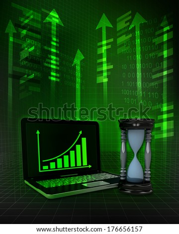 hourglass with positive online results in business illustration - stock photo