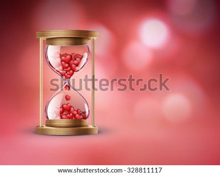hourglass with red hearts on red background with bokeh effect - stock photo