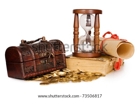 Hourglasses and coin isolated on white background - stock photo