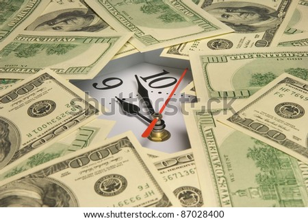 Hours under dollars (it is a lot of money). - stock photo