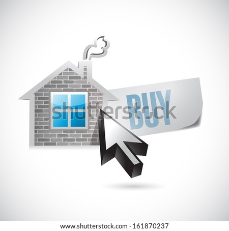 house and buy message illustration design over white - stock photo