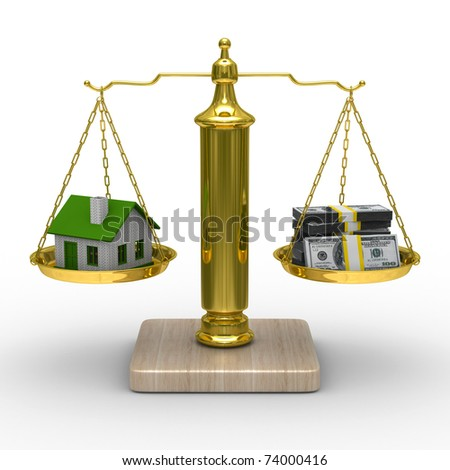 house and cashes on scales. Isolated 3D image - stock photo