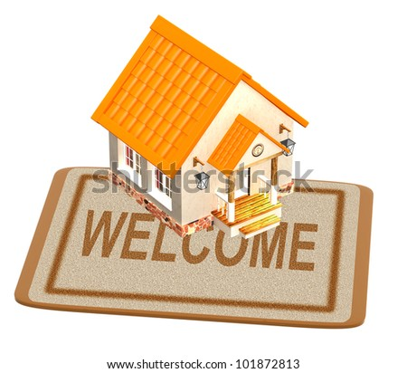 House and doormat. Objects isolated over white - stock photo