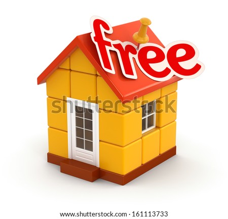 House and Free (clipping path included) - stock photo