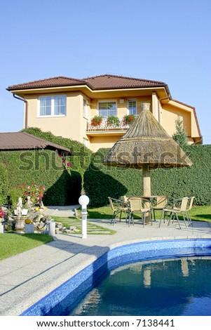 House and garden - stock photo