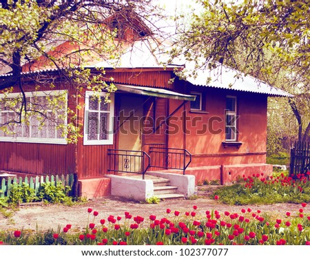 house and garden with red tulips - stock photo