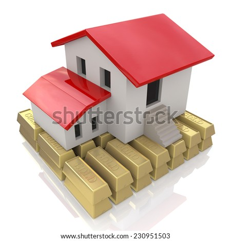 House and gold bars, Mortgage Concept - stock photo