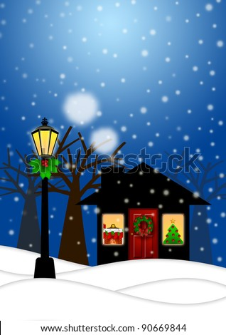 House and Lamp Post with Christmas Decoration in Snowing Winter Scene Landscape Illustration - stock photo