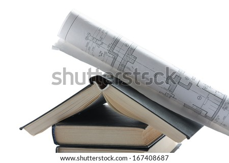 House and Lots of rolls floor plan drawings - stock photo