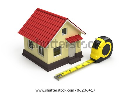 House and measuring tape - stock photo