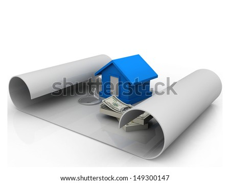 house and money on the chart  - stock photo