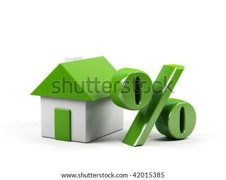 House and percent symbol. 3d image. - stock photo
