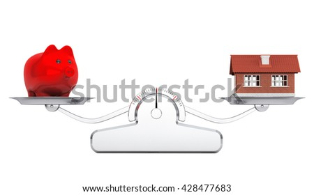 House and Piggy Bank over balance scale on a white background. 3d Rendering - stock photo