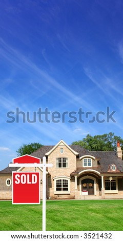 House and sign sold - stock photo