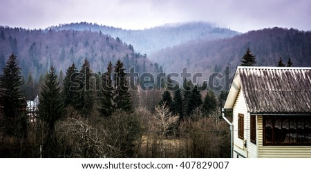 house and yard in Carpathian mountains - stock photo