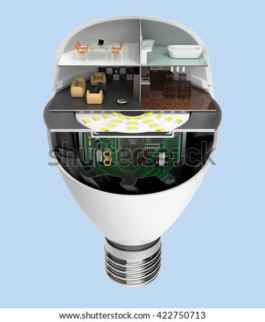 House appliances and furniture in a LED light bulb. Ecology life concept. 3D rendering image . - stock photo