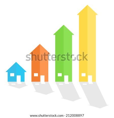House arrow graph chart diagram - stock photo