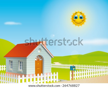 House  at a sunny day - stock photo