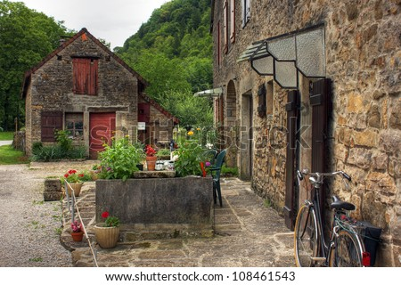 House at Baume les Messieurs, Burgundy - France - stock photo