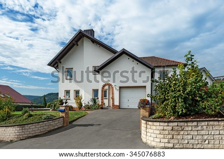 House at sunny day in Germany. - stock photo