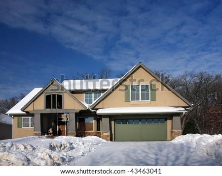 House at winter season in Minnesota - stock photo