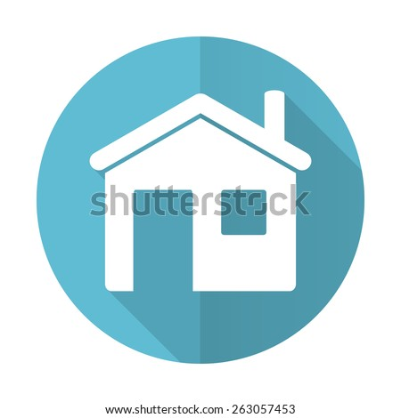house blue flat icon home sign  - stock photo