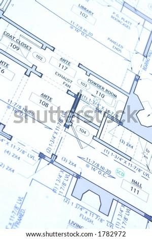 house blue print close up - stock photo