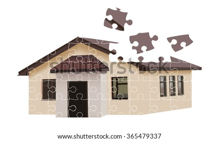 House building from falling puzzles isolated on white background - stock photo