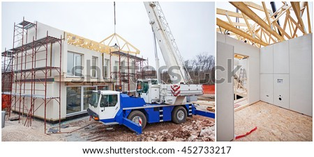 House building made by prefabricated parts - stock photo