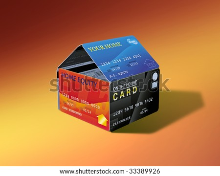 House built out of equity-linked debit cards - stock photo