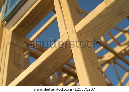 House buliding wooden frame work - stock photo