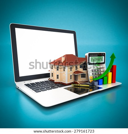 house, calculator and pen and white laptop on a blue background - stock photo