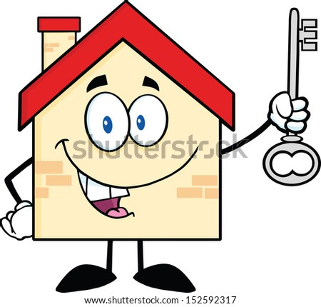 House Cartoon Character Holding Up A Key. Raster Illustration - stock photo