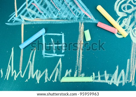 House, child's drawing with chalk - stock photo