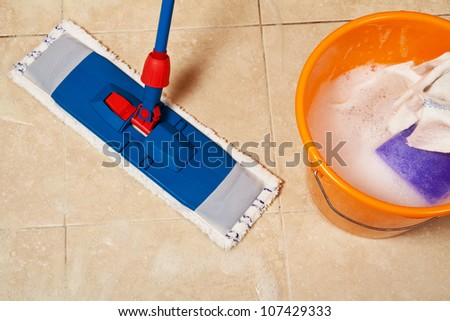 House cleaning with the mop - stock photo