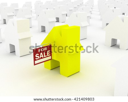 House colored  for sale, 3D rendering - stock photo